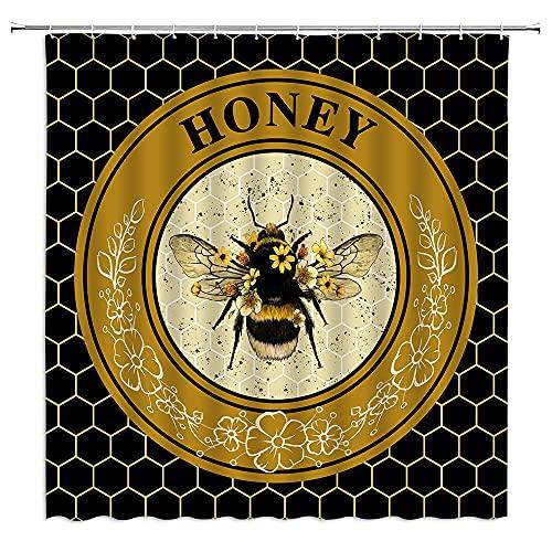 BNYARH Honey Bee Duschvorhang Bienen mit Gänseblümchen, Blätter, Geometrie, Waben, moderner Bauernhof, schwarzer Stoff, Badvorhänge Badezimmer, Polyester mit Kunststoffhaken, 178 x 178 cm
