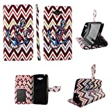 Brown Chevron Anchor Wallet Folio Case for Motorola Droid Turbo XT1254Dual Layer Interior Design Flip PU Leather Cover Card Cash Slots & Stand