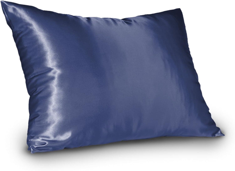 Shop Bedding Luxury Satin Pillowcase for Hair - Queen Satin Pillowcase with Zipper, Marine bluee (1 per Pack) - Blissford
