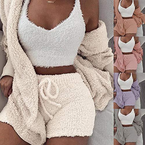 tianxiangjjeu Frauen Sexy Fuzzy Fleece 3-teilige Outfits Soft Coat Jacke Und Crop Top Shorts Set Open Front Hooded Cardigan + Crop Top Shorts Set Loungewear Grau S.