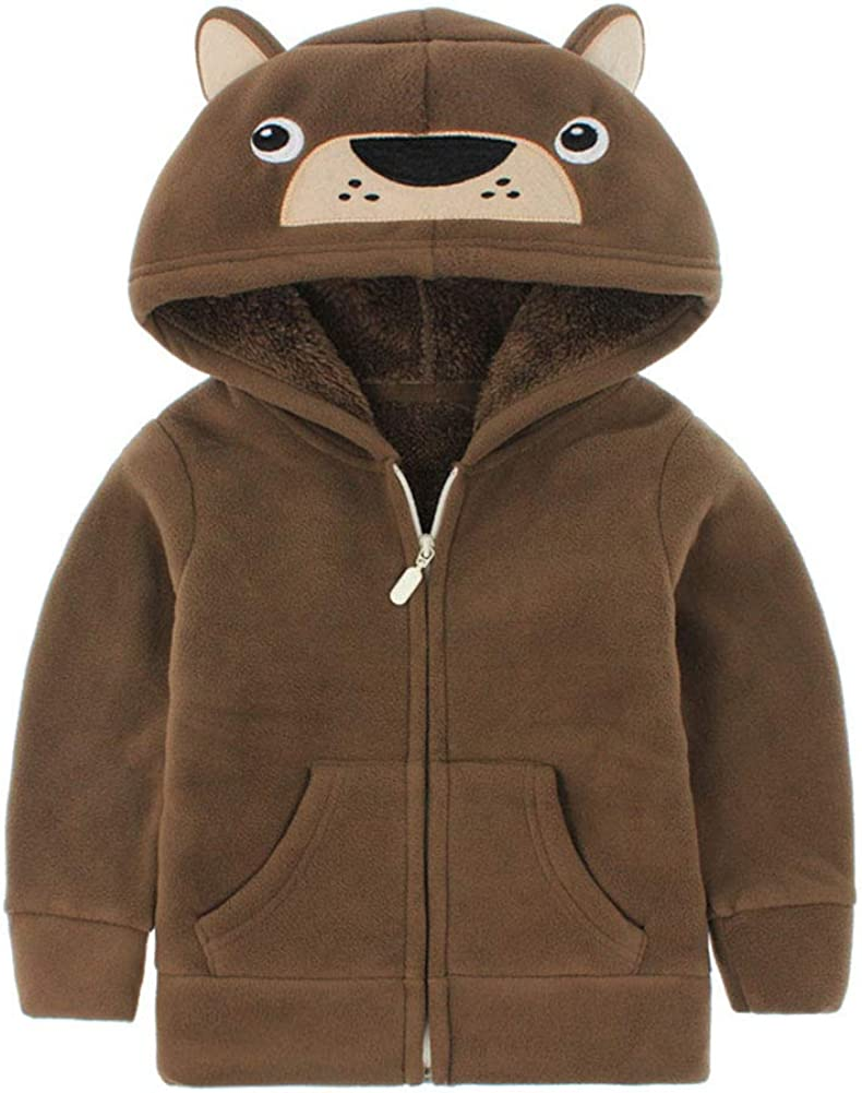 Little Boys Solid Color Carton Fleece Soft Jacket Zipper mart Hooded Max 60% OFF