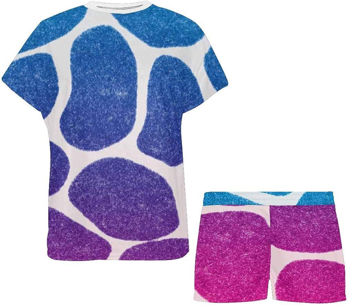 INTERESTPRINT Colorful Pattern of Animal Skin Women Sleepwear Short Sleeves Pajama Sets