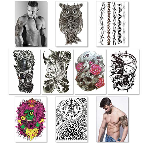 Temporary Tattoos For Men Guys Boys & Teens (8 Large Sheets) - Fake Tattoos Stickers For Arms Shoulders Chest Back Legs Tribal Koi Fish Skull Owl Clock Tattoo Realistic Waterproof Transfer Black