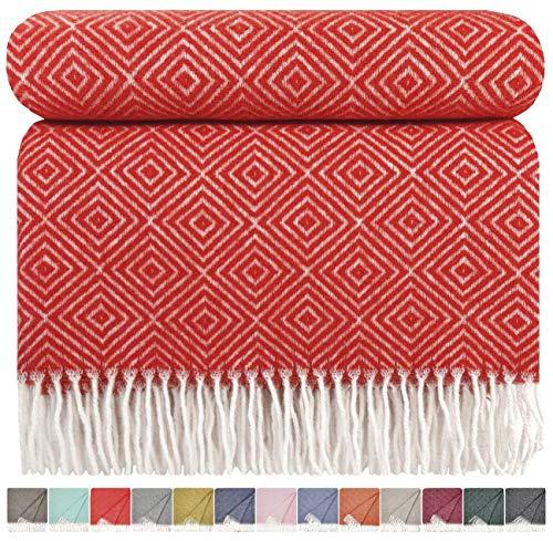 STTS International Wolldecke Plaid Wohndecke Kuscheldecke sehr weiches Plaid Decke Wolle 140 x 200 cm Verona (Rot)