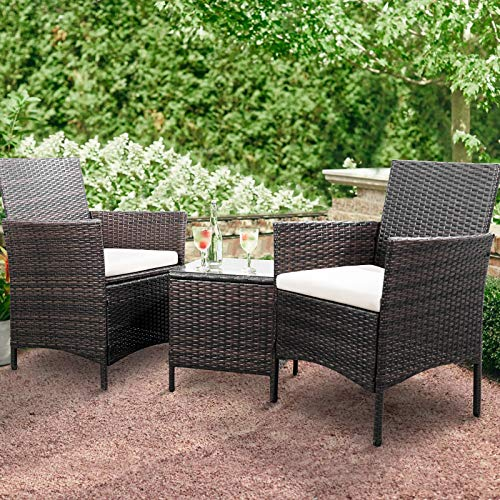 Greesum GS3RCS8BG 3 Pieces Outdoor Patio Furniture Sets Brown and Beige