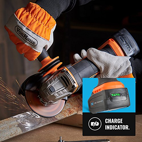 VonHaus Cordless Angle Grinder with 3.0Ah Li-ion 20V MAX Battery, Charger, 1 x 115mm / 4 ½' Cutting Disc & Power Tool Bag - Includes Anti Vibration Support Handle