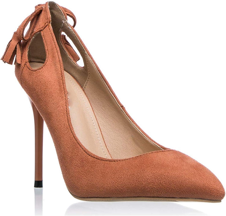 Women Pumps Elegant Bow-Knot Tassel High Heels Slip-On Wedding Lady shoes Chaussure Femme Brown,7.5