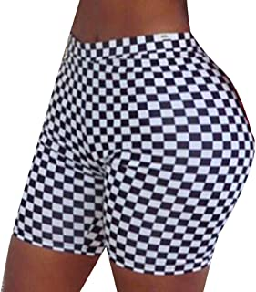 WSPLYSPJY Womens Checkerboard Printed Bodycon Short Pant Yoga Short