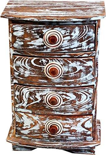 Guru-Shop Ladekast, Apothekerskast, Ladekast Spiraal - 4 Laden, Bruin, 22x22x15 cm, Blikken, Dozen Kisten