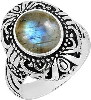 Natural Lapis Moonstone Malachite Labradorite Garnet Rose Quartz Carnelian Solitaire Ring 9x11mm Oval Shape Gemstone 925 S...