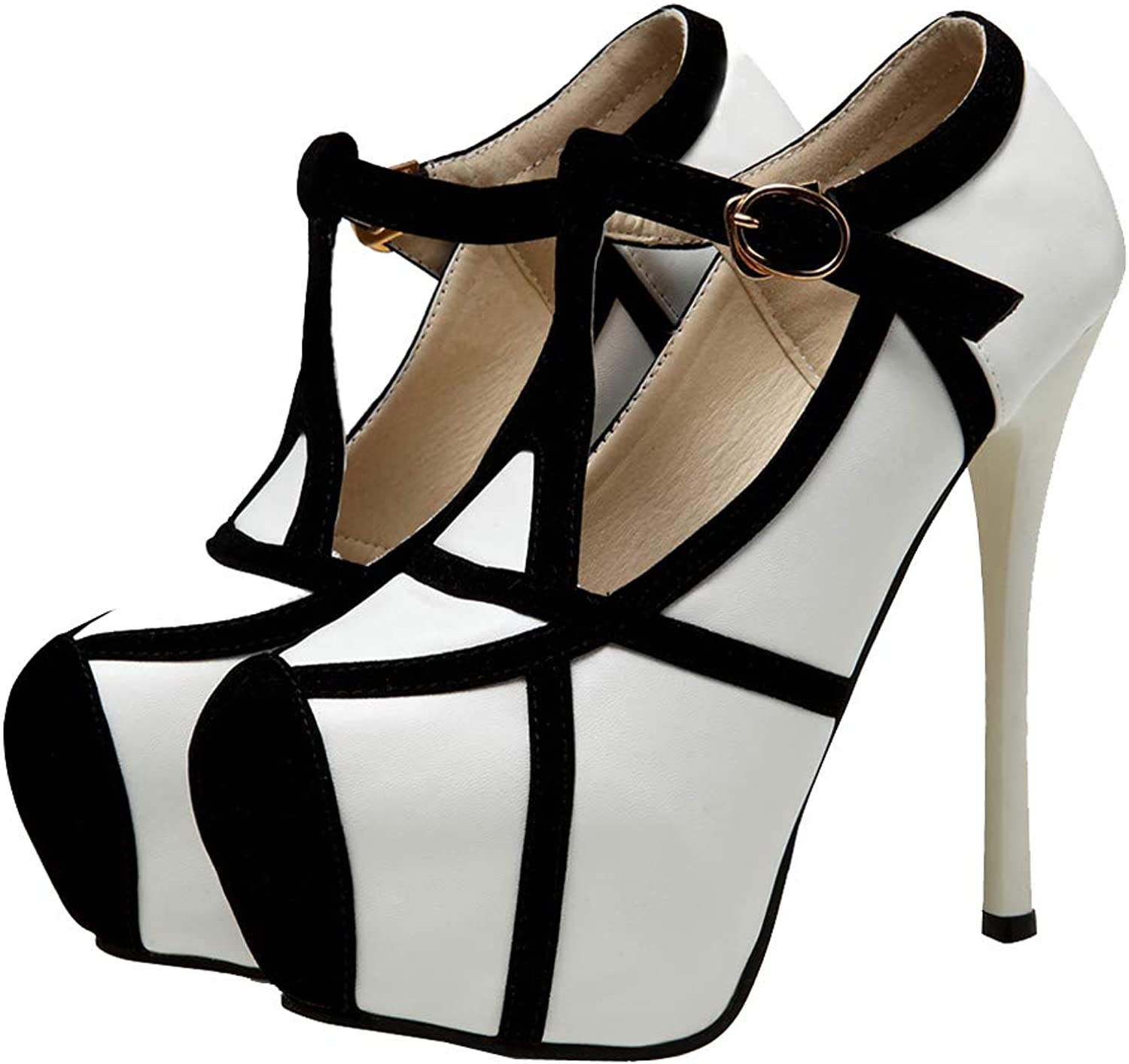 Getmorebeauty Women's White and Black Stiletto Sexy shoes High Heels