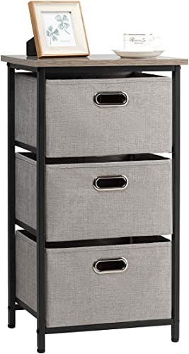 Giantex Vertical Dresser Storage W/ 3 Fabric Drawers,Easy Pull Fabric Bins,Steel Frame and Wood Top,3-Tier Organizer Tower Unit for Bedroom Hallway Entryway End Table (1, Black)