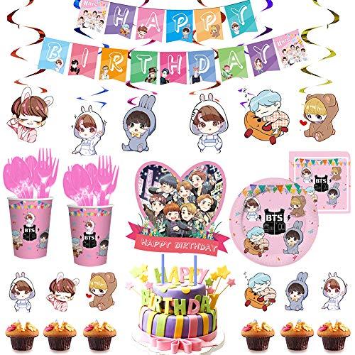 BTS Birthday Decorations Set, NALCY 82 Pcs BTS Conjunto de Decoración de...