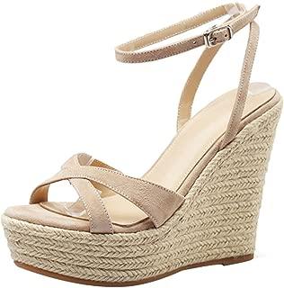 Summer Wedge Sandals - Women's Open Toe Platform 11CM Wedding High Heels, Grass Knitted High Heel Sandals (Color : Apricot, Size : 34)