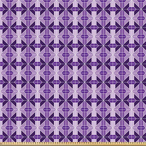 ABAKUHAUS traliewerk Stof per strekkende meter, traditionele Tiles, Microvezel Stof voor Kunstnijverheid, 5 m, Lavender Violet