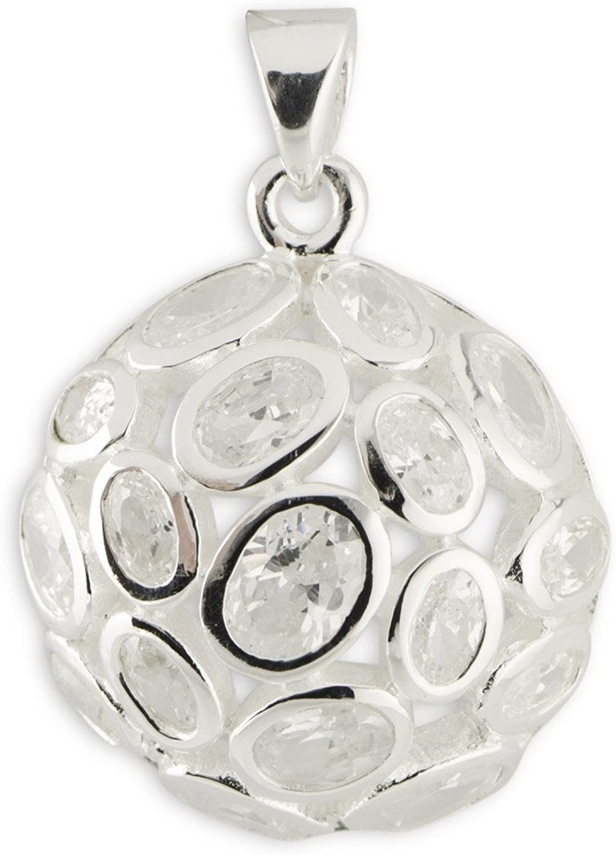 Bezel CZ Sterling Silver Pendant
