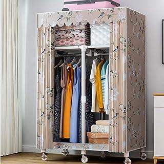 CXVBVNGHDF Armoire en Toile, Organisateur de Rangement de vêtements de Garde-Robe en Tissu Pliable avec étagères et Roue d...