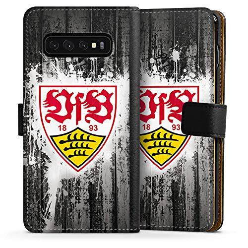 DeinDesign Klapphülle kompatibel mit Samsung Galaxy S10 Handyhülle aus Leder schwarz Flip Case VfB Stuttgart Offizielles Lizenzprodukt Bundesliga