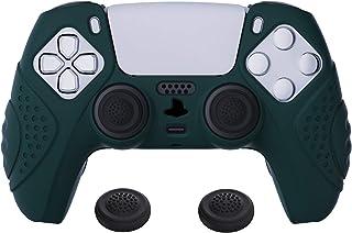 eXtremeRate PlayVital ガーディアンエディション レーシンググリーン 人間工学ソフト滑り止めコントローラーシリコンケースカバー デュアルセンス用 ラバープロテクタースキン PS5コントローラー用ブラックジョイスティックキャップ付き