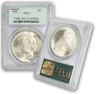 1922-1925 (Random Year) Peace Silver Dollar from CoinFolio $1 MS63 PCGS