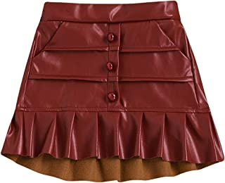 YOUNGER TREE Baby Girl's Leather Skirt Pleated Mini Skort with Pocket Black Pink