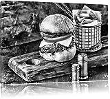 Pixxprint Cheesburger mit Pommes / 80x60cm Leinwandbild bespannt auf Holzrahmen/Wandbild Kunstdruck...