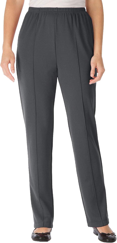 Woman Within Women's Plus Size Elastic-Waist Soft Knit Pant