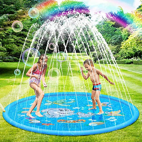 SANBLOGAN Splash Pad,Colchoneta de Agua para Niños,Juegos de Agua para Niños,Tapete de Juegos de Agua Almohadilla de Rociadores Juguete de Verano 170cm,PVC Salpica Almohadil,Piscina de Juego de Verano