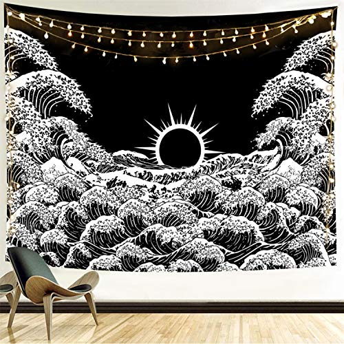 Funeon Great Wave Black and White Tapestry for Bedroom Sun Tapestry Wall Hanging Dorm Decoration for College Girls Boys | Indie Room Wall Decor Aesthetic | Cool Dark Tapistry for Men70x90 inches