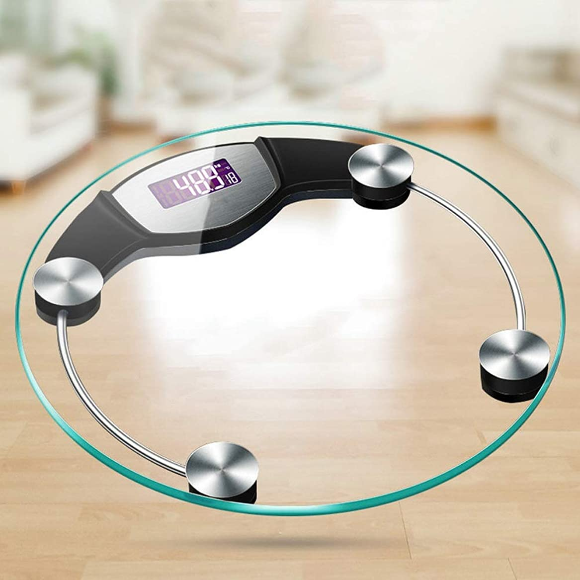 天文学あなたのもの洗剤体脂肪、体重のためのスマートなデジタル天秤ばかり、 - 丸型 - 12.2 x 12.2 x 0.7インチ (Color : Black)
