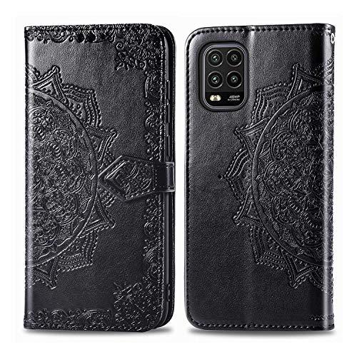 Bear Village Hülle für Xiaomi MI 10 Lite 5G, PU Lederhülle Handyhülle für Xiaomi MI 10 Lite 5G, Brieftasche Kratzfestes Magnet Handytasche mit Kartenfach, Schwarz