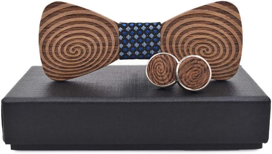 Fashion Wooden Bow tie Wooden Bow Tie for Men Women Spiral Pattern Child Baby Fashion Dress Wooden Bow Tie Men's Present Necktie -Parties Clothing Accessories Bowtie