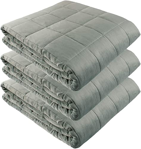 """new arrival Weighted Blankets - outlet sale 90"""" X 90"""" - 25-lbs lowest + 90"""" X 90"""" - 30-lbs + 90"""" X 90"""" - 35-lbs - No Cover Required - Silky Minky Grey - Premium Glass Beads - Calming Stimulation Sensory Relaxation outlet online sale"""