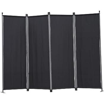 Angel Living Biombo Separador de 4 Paneles, Decoración Elegante, Separador de Ambientes Plegable, Divisor de Habitaciones, 225X165 cm (Negro): Amazon.es: Hogar