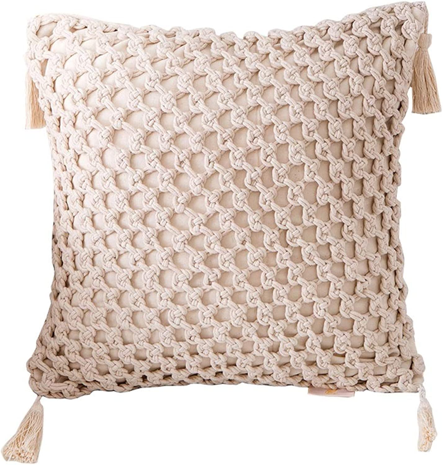 QYSZYG Pillow Hand-Woven Tassel Hug Pillowcase with Core Sofa Cushion Home Living Room Decoration Pillow (color   A)