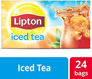Lipton Black Unsweetened Iced Tea Bags Made with Tea Leaves Sourced from Rainforest Alliance Certified Farms, 3 gallon, Pack of 24