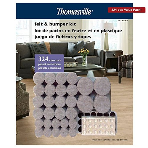 Premium Felt and Bumper Self Stick Pads By Thomasville Contains 270 Felt Pads To Protect Floors and 54 Clear Adhesive Bumpers To Protect Cabinets Wood and Furniture all These in 324 Piece Value Pack