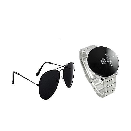 Blutech Analogue Black Dial Unisex Watch & Sunglass Combo -21489225