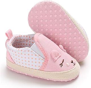 LAFEGEN Infant Baby Boys Girls Canvas Sneaker Laceless Non-Slip Soft Sole Newborn Toddler First Walker Casual Shoes(0-18 Months)