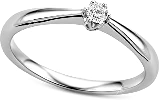 Orovi Ring for Women Engagement Ring Gold Solitaire Ring 9ct Diamond Ring (375) Brilliant 0.09ct White Gold Ring with Diamonds