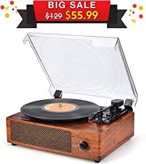 Record Player Turntable 3 Speed Vinyl Record Player with Stereo Speaker Belt Driven Vintage Style Vinyl Record Player