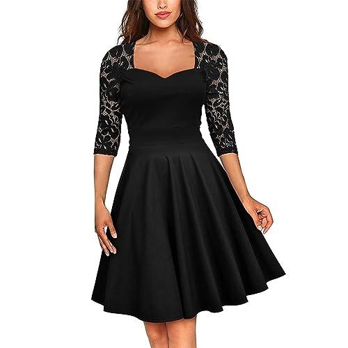 54dae9ed6bb FeelinGirl Women s Plus Size Evening Dresses V Neck Half Sleeves High Waist  A Line Party Dress