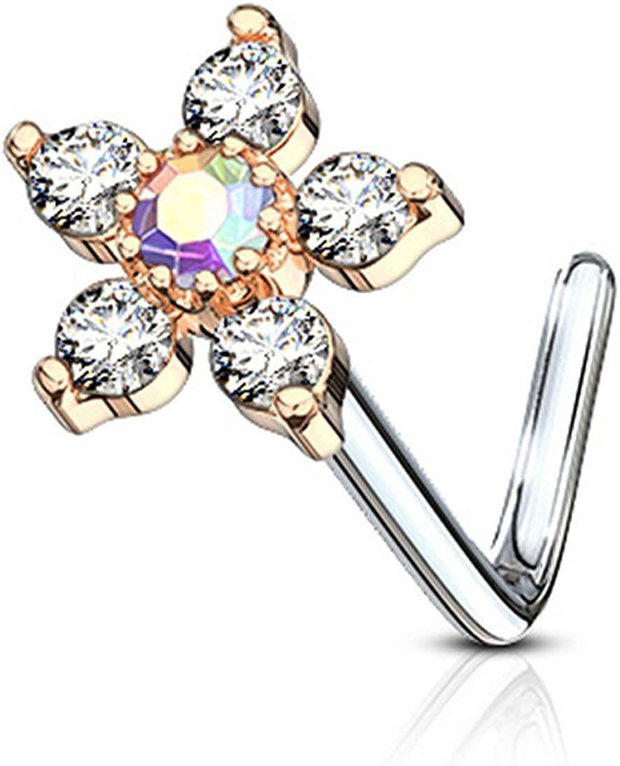 Forbidden Body Jewelry 20g Surgical Steel L Shaped Nose Ring with Large Two-Tone 6-CZ Crystal Flower Top