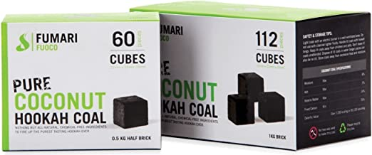 FUMARI Fuoco Pure Coconut Charcoal Supplies for HOOKAHS–60pc Non Quick Light Shisha coals for Hookah Pipes. All Natural Coal Accessories & Parts That are Tasteless, Odorless, Chemical Free (60)