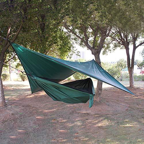 Amusingtao Hamaca portátil 2 onas con mosquitera Nylon Resistente al Viento Camping al Aire Libre Impermeable Ligero Patio Tienda Supervivencia Senderismo Viaje Fácil Instalar Anti UV Playa(Verde)