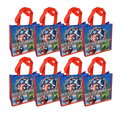 8-Pack Marvel Avengers Assemble Reusable 10' Tote Bags with Glossy Printing