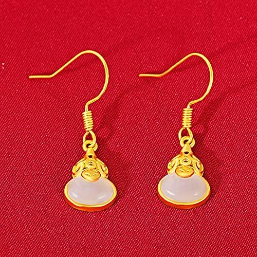 LIEQUAN Latón 24k método Antiguo artesanía de Oro pequeños Pendientes de Calabaza Pendientes Mujer Artesano Pendientes de Jade Hetian(Blanco)