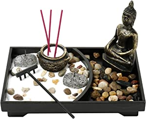 Zen Garden Candle Holder Tray, Resin Buddha Incense Sticks Holder, Tealight Statue Candlestick Holders Ornaments Statue for Home Office Decor Gift (Style E,,Bronze paperback)
