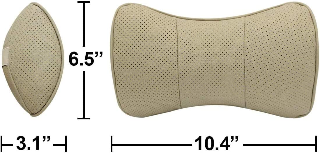 fit Cadillac Westion 2pcs Genuine Leather Bone-Shaped Car Seat Pillow Neck Rest Headrest Comfortable Cushion Pad with Logo Pattern