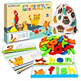 SpringFlower See & Spell Matching Letter Toy,Learning Educational Toy For 3 4 5 6 Years Old Boys And Girls,Preschool Learning Activities,Shape & Color Recognition Game,Cvc Word Builders For Kids,80Pcs